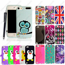 For Apple iPod Touch 5 5th Gen Silicone Rubber Protective Back Case Cover+Stylus