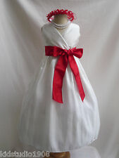 IVORY CHERRY RED RECITAL BRIDAL PARTY FLOWER GIRL DRESS 18-24MO 2 4 6 8 10 12 14