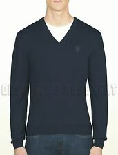 GUCCI Mens navy 100% WOOL V-neck HYSTERIA Crest LOGO sweater NWT Authentic!