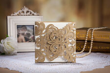 Personalised or DIY Luxury Gold Laser Cut Lace Wedding Invitation Cards
