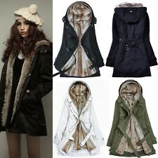 Women's Thicken Fleece Faux Fur Warm Winter Coat Hood Parka Overcoat Long Jacket