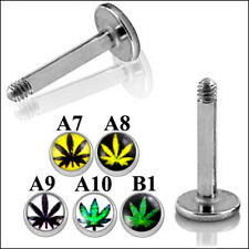 316L Surgical Steel Labret With 4mm Marijuana Leaf Logos