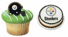 12 Pittsburgh Steelers Football Helmet Cupcake Ring OR Cake Topper  NFL Party