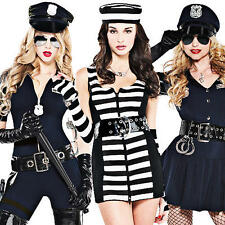 Cops & Robbers Ladies Fancy Dress Police Uniform Convict Womens Costume Outfits