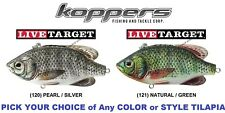 Koppers Live Target Tilapia Lipless Rattle Trap or Wake Bait Any TLM TLV Lure