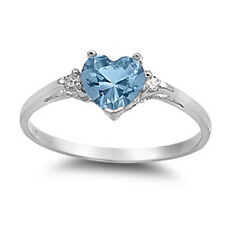 Sterling Silver Aquamarine CZ Heart Ring Love Rhodium Finish Band Solid 925 New