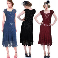 Donna Bella 20s style Cap Sleeve Sequined Pencil Cocktail Party Calf Lace Dress