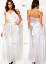 Womens Taffeta Sequined Corset Strappy Wedding Party Prom Maxi Off White Dress