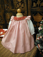 NWT Will'beth Red Striped Christmas Holiday Bishop Dress 3 6 9 M Baby Girls Slip