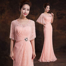 Long Pink Lace Formal Evening Prom Dress Wedding Bridesmaid Dress Ball Gown Y142