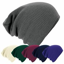 Mens Ladies Knitted Woolly Winter Oversized Slouch Beanie Beenie Hat skateboard