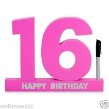 Wooden 16th Signature Number White  Pink Purple Birthday Gift Party Present