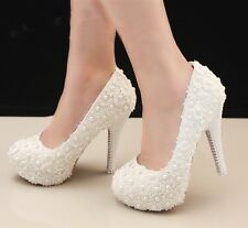 Royal Lace Pearl Elegant Handmade Diamond Wedding Party Dress Women High Heel