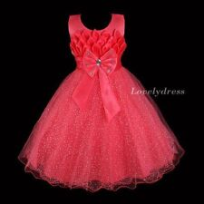 NEW Flower Girl Wedding Pageant Party Dress Wears Set Watermelon Red SZ 4-8 Q566