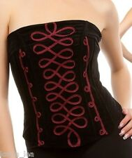 Black/B Velvet Bias Zip Back Boned Corset/Bustier/Tube