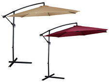 Patio Umbrella Offset 10' Hanging Garden Outdoor Market Canopy Umbrella Red Tan