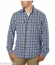 Boston Traders Men's Flannel Jacket Shirt Fleece Lining Blue Brown Plaid NEW