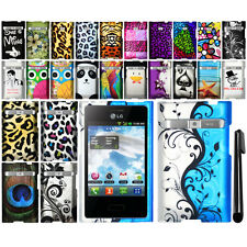 For LG Optimus Logic L35g Dynamic L38c Rubberized PATTERN HARD Case Cover + Pen