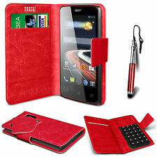 Red Leather Suction Wallet Flip Mobile Phone Case For Various Acer Models