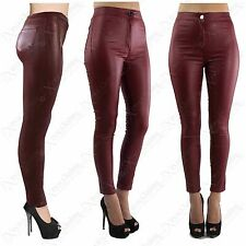 LADIES WOMEN HIGH WAISTED WET LOOK PU TUBE JEANS LEATHER WAX SKINNY FIT DISCO