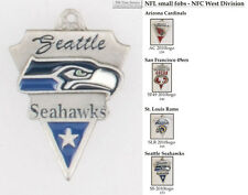 NFL team logo fobs (NFC West), pewter-toned, various teams & keychain options