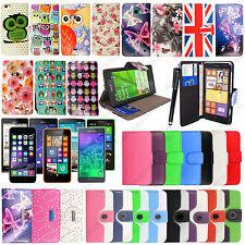 Stylish Attractive PU Leather Wallet Flip Case Cover For Mobile Phones+Stylus