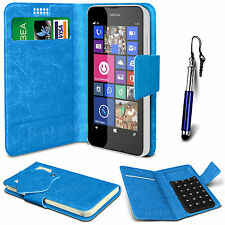 Blue Leather Suction Wallet Flip Mobile Phone Case For Various Nokia Sets