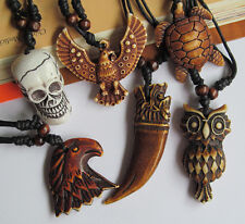 2PCS Skull Heads Owl Eagle Turtle Wolf tooth Necklace Pendant N125