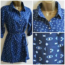NEW WHITE STUFF BLUE WHITE TOP BLOUSE TUNIC SHIRT CASUAL GEOMETRIC PRINT 8 -18