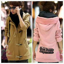 Korean Womens Solid Color Thick Fleece Hooded Coat Sweater Jacket Tops Outwear
