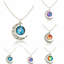 SILVER-TONE CRESCENT MOON NECKLACE FASHION Jewelry GALACTIC CABOCHON PENDANT