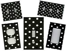 BLACK WITH WHITE POLKA DOTS HOME WALL DECOR LIGHT SWITCH PLATE