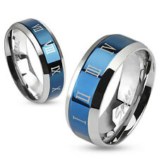 Roman Numerals Beveled Edge Stainless Steel Wedding Band Couple Mens Ring