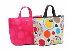 WOMEN CIRCLE SPIRALS PINK THERMAL INSULATED LUNCH BOX ZIPPER TOTE BAG