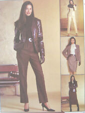 Misses Lined Jacket Blouse Pants Skirt Sewing Pattern Tie Collar Princess 3028