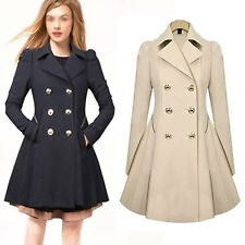 Women Ladies Lapel Cashmere Long Winter Parka Coat Trench Outwear Jacket