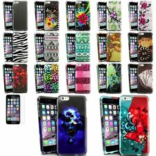 Colorful Rubberized Design Cover Case+Colorful Protector For iPhone 6 Plus 5.5""