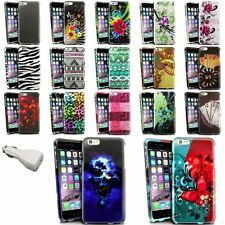 """Colorful Rubberized Design Case+White Car Charger Adapter For iPhone 6 Plus 5.5"""""""