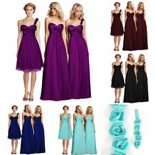 Taffeta Chiffon Pleats Empire Bridesmaid Formal Wedding Party Dress 6-8-10-12-14