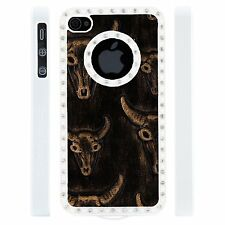 Apple iPhone 5 5S Gem Crystal Rhinestone Black Copper Bull Skull Leather case