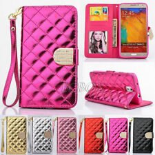 Glossy PU Leather Handbag Wallet Case + Bling Diamond For Samsung Galaxy S Note