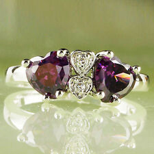 Heart Cut Amethyst White Topaz Gemstones Silver Ring Size 7 8 9 10 Free Shipping