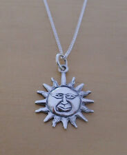 "925 Sterling Silver SUN Pendant Charm on 16, 18 or 20"" Curb Chain"