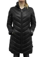 Calvin Klein Womens Packable Premium Down Hooded Long Coat NWT Black
