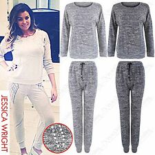 NEW WOMEN LADIES DIAMANTE WING MARL KNIT TRACKSUIT JUMPER TOP JOGGER PANTS TROUS