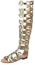 Tall matte gold cage gladiator sandals latest style