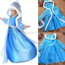 New Frozen Kids Elsa Disney Princess Costume Girls Xmas Cosplay Dresses 2-7Y