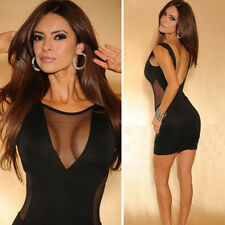 2015 Sexy Women Bandage Clubwear Cocktail Party Bodycon Gothic Sheer Mini Dress
