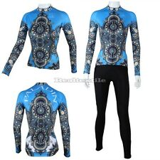 Women Winter Long Sleeve Cycling Jersey Pants Set Bike Apperal Blue Chinese