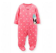 Carters Newborn 3 6 9 Months Penguin Sleep & Play Baby Girl Clothes Pink Fleece